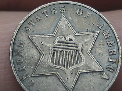 1861 Three 3 Cent Silver Piece- XF Details