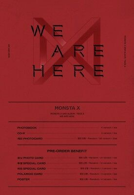 MONSTA X - WE ARE HERE [Random ver.] CD+Pre-Order Benefit+Poster+Free Gift