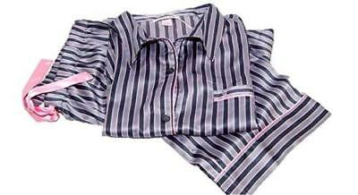 New VICTORIA SECRET Afterhours satin pajama set iconic stripe PJ pants gray   75 5f30300c6