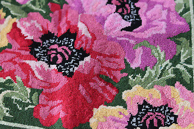 Finished Needlepoint Embroidery Cross stitch for Footstool Poppies Flowers