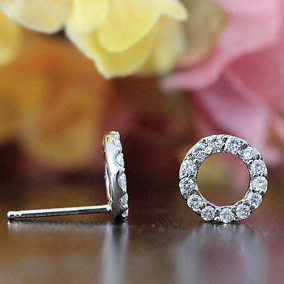 0.5Ct Round Cut Diamond Circle Stud Earrings 14k White Gold Over For Women's