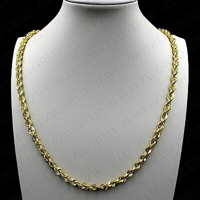 d3538eed88ea2 10K YELLOW GOLD 5mm Mens Womens Hollow Diamond Cut Rope Chain ...