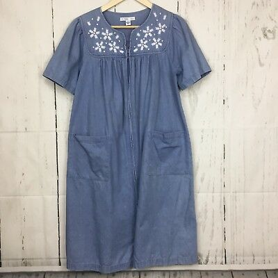 3c5dc15a383 Go Softly Patio S Petite House Dress Muumuu Denim Zipper Front Embroidered  Beads