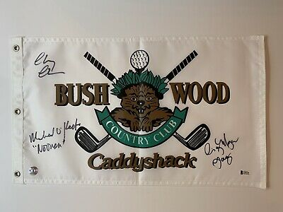 Chevy Chase Cindy Morgan Michael O'Keefe signed Caddyshack Flag Beckett Witness
