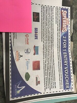 2 X Sun superday 2 for 1 entry voucher Sealife tussauds legoland blackpool tower