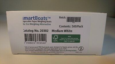 New LevGo Paper Weighing Boat, White, Medium, 500/case, # 20302 Made in USA