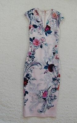 0bda0586f274 Ted Baker London Womens Dress Acanthus Scroll Midi Length Floral Sz 0  Holiday