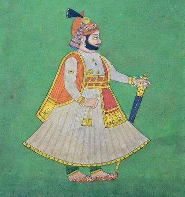 Oriental indian mughal emperor maharaja rajasthan miniature painting india 19c