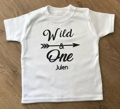 Baby Boys Girls Personalised 1st Birthday Top TShirt Outfit Wild One Cake Smash