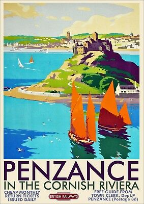 British Rail Railway Vintage Old Poster Picture | Penzance Cornwall | TP226