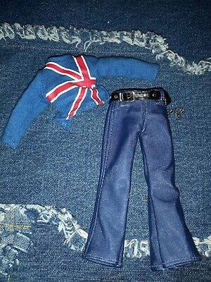 Bratz Male Boy Doll Clothes Outfit Jeans British flag shirt top free shipping