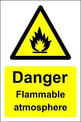 Danger flammable atmosphere safety sign