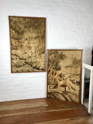 Antique Japanese Silk Work Wall Panels Embroidered Tapestry Decorative Lions C19