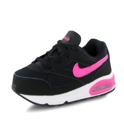 Nike Air Max Ivo Infant Kids UK 7 Black & Pink Suede Sneakers Trainers Shoes