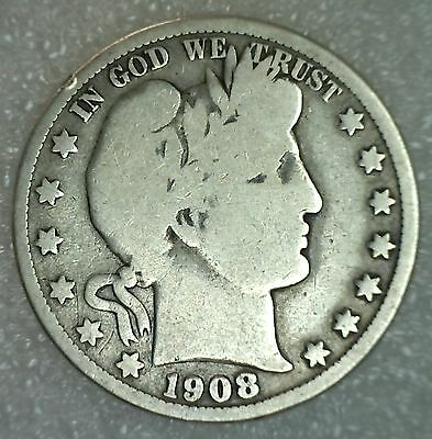 1908 O Barber Half Dollar Silver Type Coin Fifty Cents 50c Good