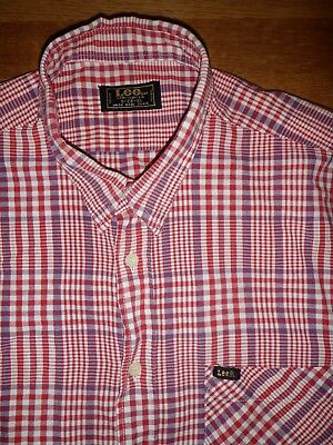 Vintage Lee Red Check Cotton Shirt. Size XL.