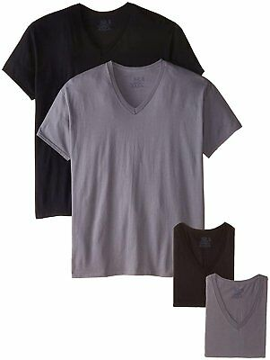 Fruit of the Loom Men's V-Neck T-Shirts Size 3X 4-Pack Black/Gray EVERSOFT