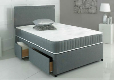 New Chenille Divan Base With Under Bed Storage Drawers - 4Ft6 5Ft 6Ft Charcoal
