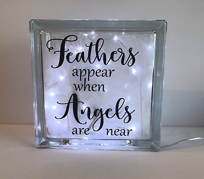 Feathers Appear When Angels Are Near Fairy Light Glass Block