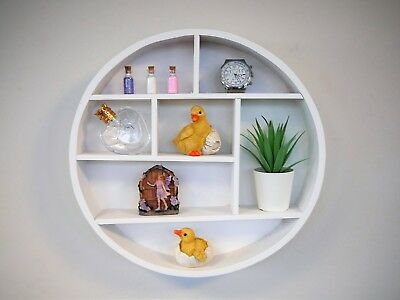 Wall Hanging White Wooden Round Shelf Circle Display Unit Shabby Chic Rack Oval