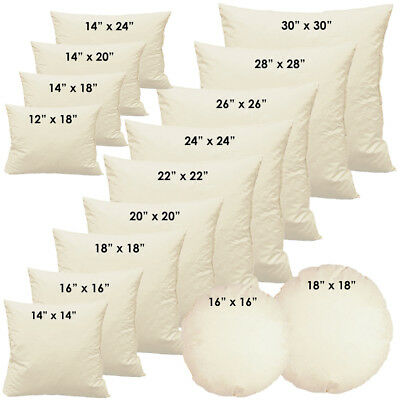 "Duck Feather Cushion Pads Inners Inserts Fillers 12"" 14"" 16"" 18"" 20"" 22"" 24"" 30"""
