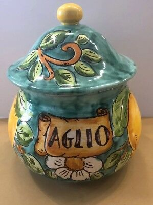 Vietri Pottery-garlic Keeper With Lemons.Made/Painted by hand in Italy