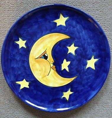 Vietri Pottery-10,1/4 Inch Plate With Moon Made/painted by hand-Italy.