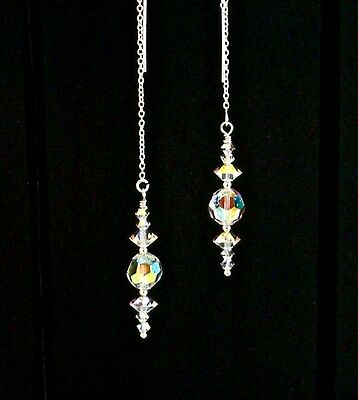 """IAJ"" STERLING SILVER Ear Threader Earrings w/SWAROVSKI CRYSTAL AB CRYSTALS"