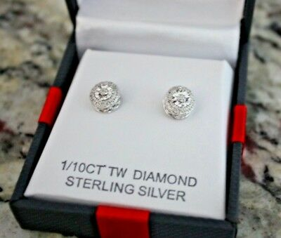 New 1/10 CT TW Diamond Sterling Silver Double Halo Style Stud Earrings
