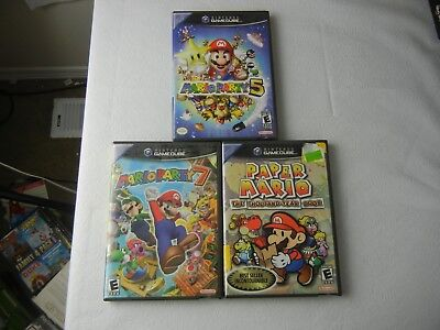 Nintendo Gamecube Mario Party 5 & 7 and Paper Mario NO GAMES Cases Manuals Only