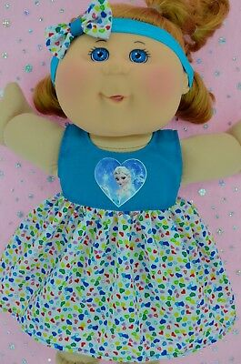 "Play n Wear Doll Clothes To Fit 14"" Cabbage Patch TURQUOISE/HART DRESS~HEADBAND"