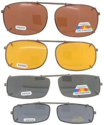 Clip On Sunglasses For Glasses Rectangle Sizes Yellow Drive Polarized Lenses USA