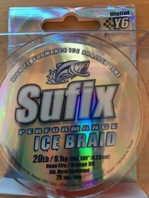 Sufix Performance Metered Tip Up Ice Braid Fishing Line 50yd 20lb Test 610-120MC