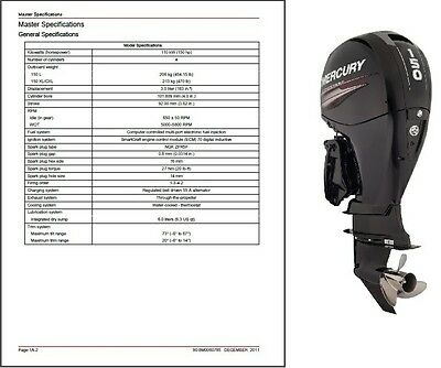 2011-2015 Mercury 150 EFI FourStroke Outboard Motor Service Repair Manual CD
