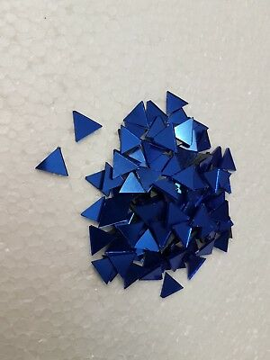 100 pieces, Royal Blue Triangle Glass Mirror, 1x1x1 cm, 1.6 mm Thick, Art&Craft