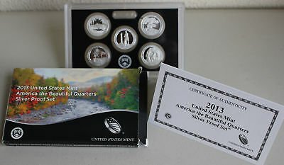 2013 S America the Beautiful Quarters Silver Proof 5 ATB 25c Coins Box and COA