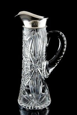 Gorham Sterling Silver Mounted Claret Jug Cut Glass ABP Pitcher c.1906