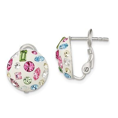 Sterling Silver Multi Color Stellux Crystal Omega Back Earrings (0.5IN x 0.5IN)