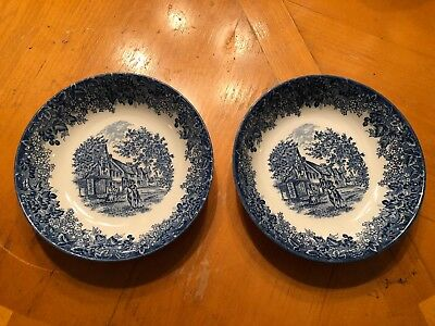 2 Queen's Ware Wedgwood Romantic England Blue Chiddingstone Kent Soup Bowls