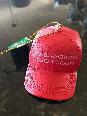 "KSA Donald Trump ""Make America Great Again"" Red Cap Ornament Christmas Tree MAGA"
