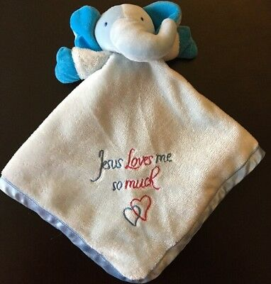 Jesus Loves Me Elephant Baby Security Blanket Lovey Satin Gingham His Gem Pink