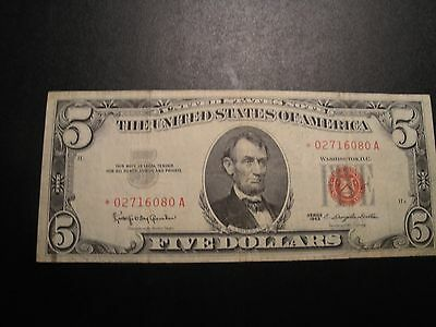 (1) $5.00 Series 1963 United States *Star* Note VF Circulated Condition.
