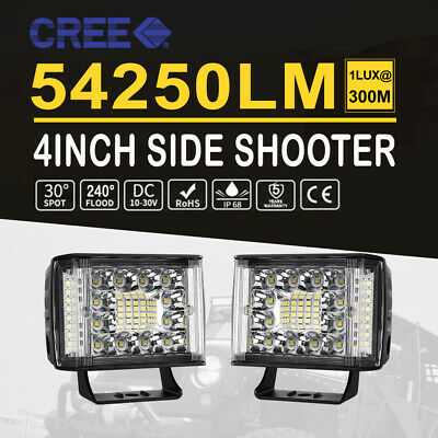 4Inch LED Work Light Bar Side Shooter Offroad Spot Flood Combo Driving 4WD SUV