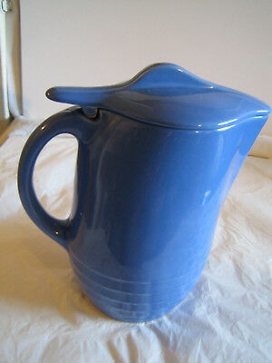 Vintage Blue Pitcher - Ice Guard Lid  - Oxford Ware Universal Pottery