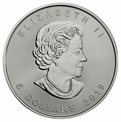 1 - 2019 Canadian Maple Leaf  $5.00 Coin - .9999 Pure Silver - BU - Protected