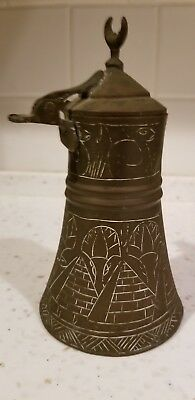 Antique Copper Dallah Coffee Pot Egyptian Pyramid Etched Design
