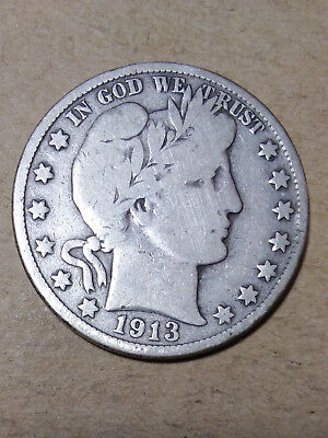 "1913 D 50C Barber Half Dollar Circulated  90 % Silver  BH102 VG ""TUCK"""