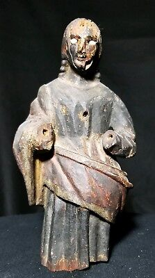 Old Antique Carved Wood Santo Statue of Mary with Beautiful Old Patina and Paint