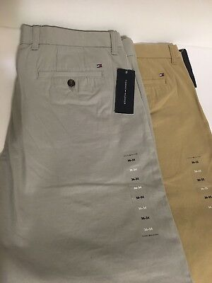 Tommy Hilfiger Men/'s Tailored Fit Flat Front Chino Pants Pick Color Size NWT