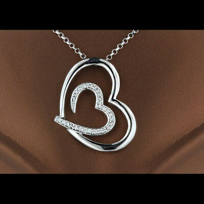 0.15 Ct Round Cut Diamond Heart Pendant With Chain 14k White Gold Over